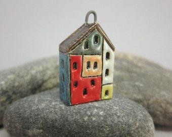 Hundertwasserhaus...Stoneware Pendant