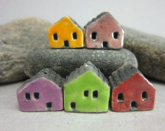 5 Raku House Beads...Yellow Pink Purple Green Red