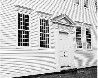 Architecture Photograph, Farmhouse Style, Wall Decor, Colonial New England, Fine Art Photography, Black and White Photo, Monochromatic Print