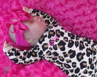 Personalized Coming Home Baby Gown for Girl, Leopard Print Personalized Baby Girl Gown