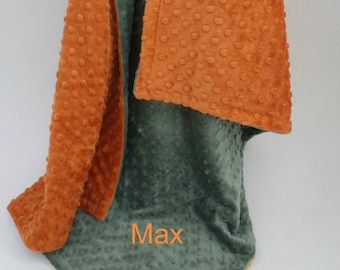 Photoprop CLEARANCE Burnt Orange and Olive Green Dot Minky Baby Blanket  - for boy