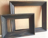 Pair of Dark Gray Farmhouse Style Distressed Painted Wood Picture Frames 8x10 and 4x7