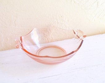 Pretty Pink Vintage Glass Bowl with Handles Depression Glass