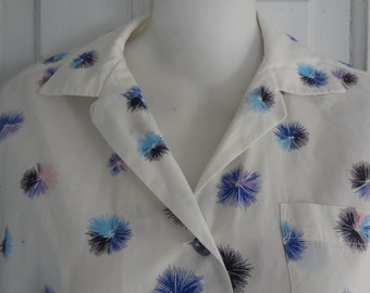 Vintage 1950s Lady Manhattan Cotton Blouse, White with Blue and Pink Fireworks, medium