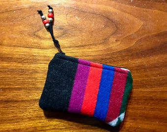 Wool Coin Purse / Phone Cord / Gift Card Holder / Zippered Pouch XL Geometic Stripes Handcrafted using Fabric from Pendleton Woolen Mill