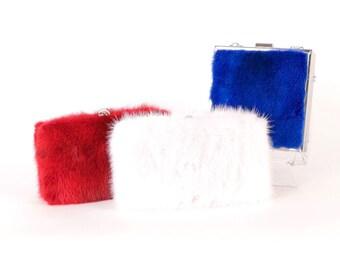 Blue Mink Clutch - Cobalt Fur Bag - Blue Mink Leather Clutch - Blue Fur Handbag - Small Blue Fur Bag - Blue Fur Minaudière - Genuine Fur Bag