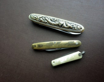 Collection of Three Penknives Vintage - Mother of Pearl Metal, Gold