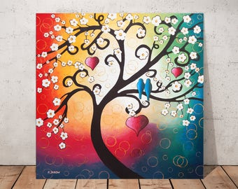 Whimsical Tree Painting, Cherry Tree of Life Wall Art, Tree Art Landscape Painting on Canvas, Love Birds Art Gift For Couple