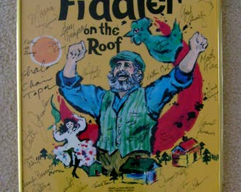 Rare Framed Fiddler on the Roof Poster Topol 1990-1991 Gershwin Theatre New York Signed by Entire Broadway Cast~14x22 Inches