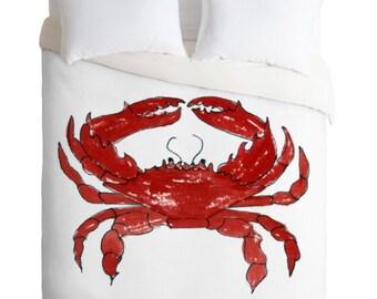 Red Crab Crab Duvet Cover