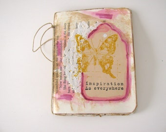 Junk Journal, Mini Altered Journal, Recycled Book Pages Art, Faith Journal, Planner, Travelers Diary, Butterfly Gift, Gratitude Journal