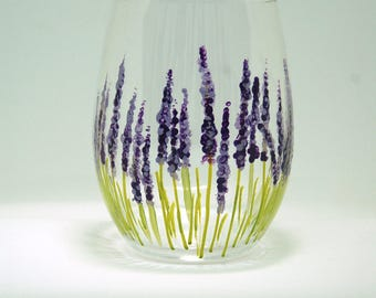 Lavender - 15 oz handpainted stemless white wine glass