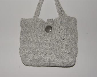 Gray Crocheted Purse from Reclaimed Yarn