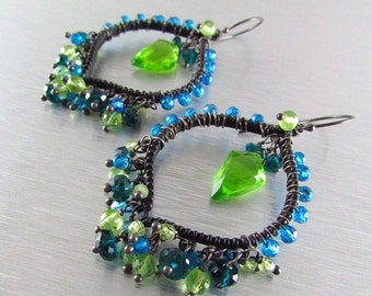 25OFF Colorful Wire Wrapped Hoops With Blackened Metal and Neon Gemstones