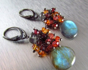 25% Off Labradorite With Rhodolite Garnet, Orange and Red Quartz Cluster Oxidized Sterling Earrings