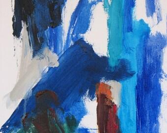Pool Lane Original Abstract Painting 12x 16 blue aqua deep red green