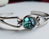 NEW Sterling Silver Custom Cuff Cremation Bracelet Ashes InFused Glass Pet Memorial Urn Heirloom Keepsake