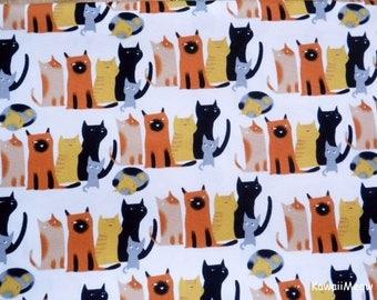 Kawaii Japanese Fabric - Cat's Family on White - Fat Quarter (ma170422)