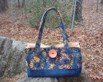 Navy Blue and Gold Sunflower Purse Bag Tote
