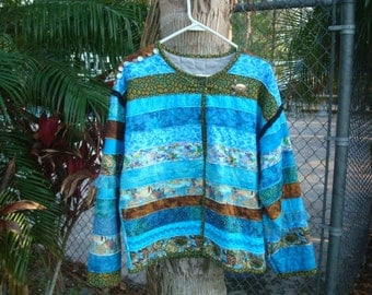 Blue Sea Turtle Beach Art Jacket OOAK