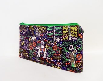 Elephant Pouch, Medium Zipper Pouch, Coin Purse, Cosmetic Pouch, Pouch, Fabric Pouch, Gift for Her, Fabric Zipper Pouch, Liberty Pouch