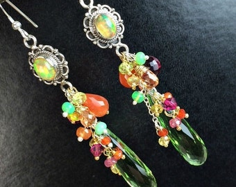 HALLOWEEN SALE Ethiopian Opal Colorful Dangle Earrings Linear Earrings Peridot Quartz Mixed Metal Long Earrings