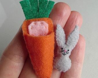 Bunny Rabbit gray felt plush miniature in  carrot bed play set