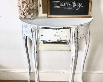 Shabby chic  Desk, art deco nouveau style table white , shabby chic, sofa table, Vintage entryway table, kidney shape end table