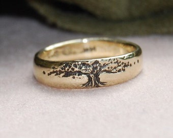 Tree of Life Wedding Band 14K Gold single band 5mm Red, white or yellow 4 to 8.5 Size