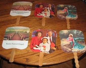6 vintage funeral home giveaway fans