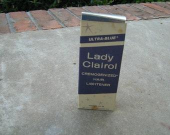 1960 N.O.S. ultra blue lady clairol cremogenized hair lightener cobalt blue bottle