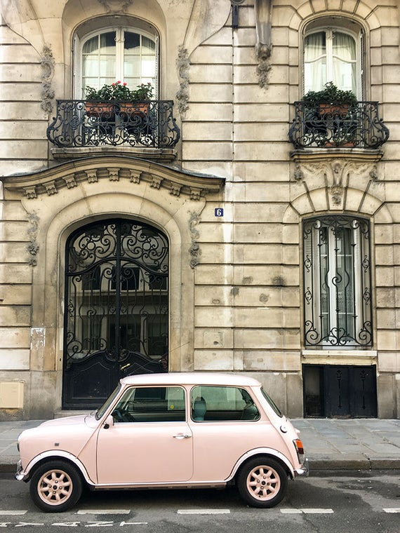 Paris Photography, Pink Car on The Streets of Paris,  French Home Decor, Gallery Wall Art, Francophile, Pretty in Pink, Paris Je T'aime