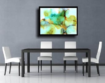 Alcohol Ink Abstract Giclee Print Large Abstract Wall Art Modern Painting Contemporary Minimalist Meditation Art Zen Colorful Painting Blue