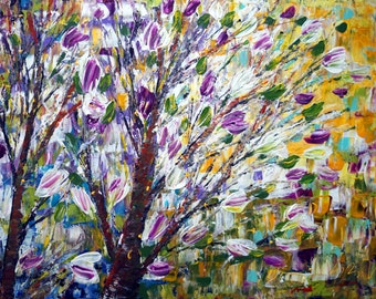 Spring MAGNOLIA Oil Painting PURPLE Impasto Yellow White Trees Painting Original Art on Canvas 36x24 Ready to Ship