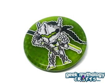 "Overwatch Genji Shimada Hero Pins - 1.5"" Pin Button or Magnet"