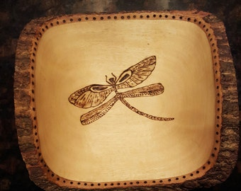 Wood Burned Dragonfly Snack Dish
