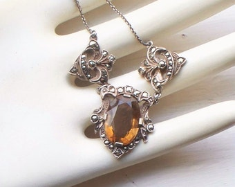 Victorian Sterling Topaz Glass Necklace - Antique, Marcasite, Victorian