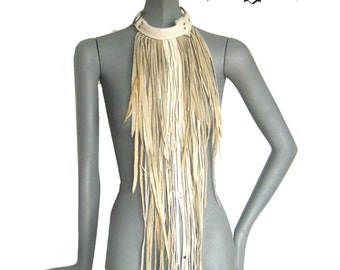 Fringe Couture, Lux Leather fringe necklace, Extravagant,Long distressed,bib fringe, primal  fringe, by Renegade Icon designs