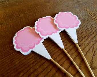 Big Top Circus Party - Set of 12 Cotton Candy Cupcake Toppers by The Birthday House