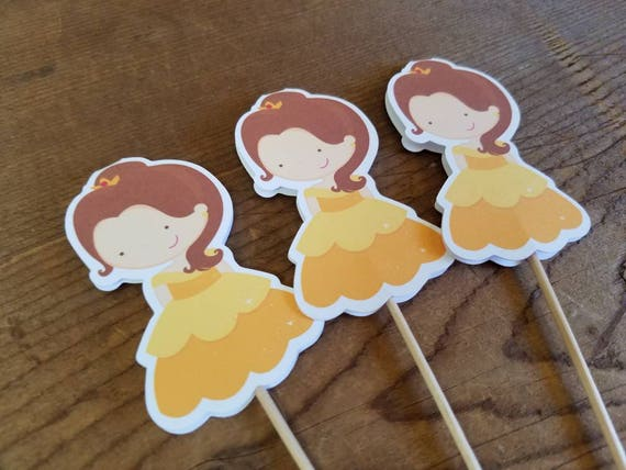 Princess Party Set of 12 Belle Cupcake Toppers by The Birthday