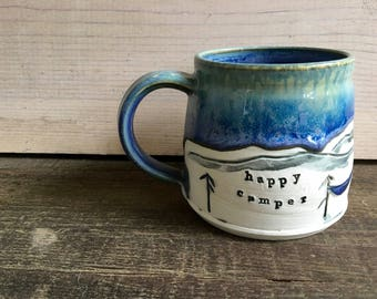 Happy Camper - Camping Mug - Mountain, Camp Mug - Tent, Hammock, Fire, Trees - Tea Cup - Coffee - Campfire - Whiskey, Wanderlust