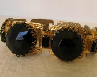 Vintage Black Obisidian Cuff Bracelet Huge Faceted Stones Red Carpet Style Unmarked
