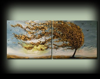 """original abstract art painting blue gold surreal fantasy diptych lollipop tree painting yellow gold red cloud sunset 56"""""""
