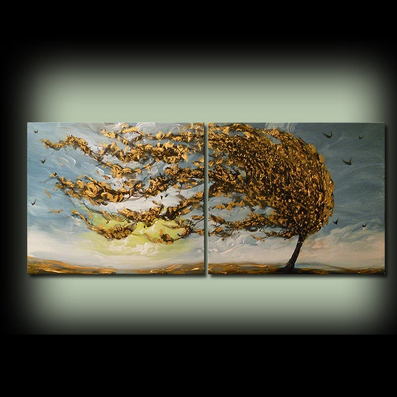 """original art abstract painting impressionism blue gold surreal painting tree painting windblown tree yellow gold blue sky sunset 56"""""""