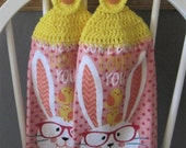 2 Crocheted Hanging Kitchen Towels - Easter Bunny
