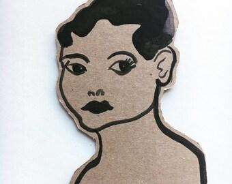Eartha Kitt portrait - handpainted original art cut out