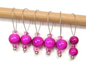 Fuchsia Pink Stitch Markers Snagless Knitting Tools Beaded  Snag Free Handmade Knitting Supplies DIY Crafts Gift for Knitting