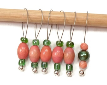 Stitch Markers Snagless Salmon Orange Green Knitting Tools Beaded  Snag Free Handmade Knitting Supplies DIY Crafts Gift for Knitting