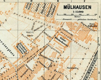 Antique Map of Mülhausen, Germany - 1909 Mülhausen Map