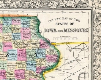 Antique Map of Iowa and Missouri - 1864 Hand-Coloured Mitchell Map